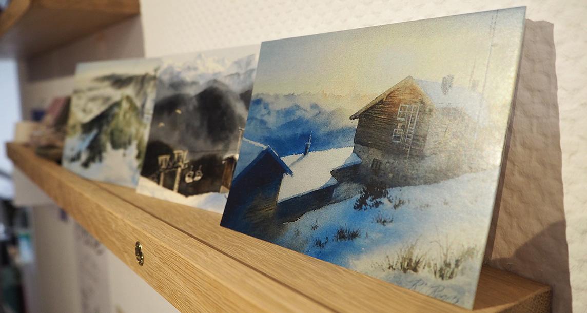 aquarellbilder im postkartenformat mit heimischen landschaftsmotiven