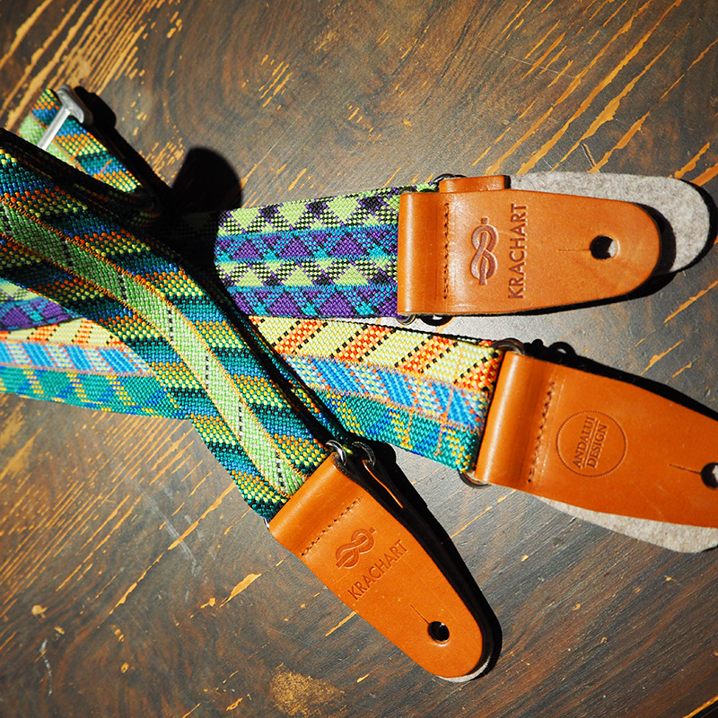 gitarrengurte mit aus kletterseilen und lederhalterungen